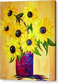 Sunflowers In A Red Pot Acrylic Print by Eloise Schneider