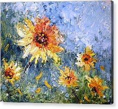 Sunflowers In Bloom Acrylic Print by Mary Spyridon Thompson