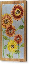 Sunflowers On Wood Panel I Acrylic Print by Elizabeth Golden