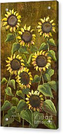 Sunflowers With Gold Leaf By Vic Mastis Acrylic Print by Vic  Mastis