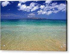 Sunny Blue Beach Makena Maui Hawaii Acrylic Print by Pierre Leclerc Photography