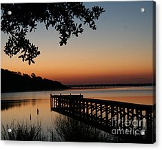 Sunrise On Bogue Sound Acrylic Print by Cari Gesch