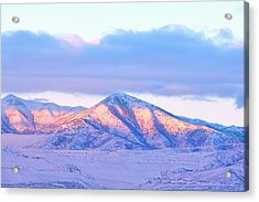 Sunrise On Snow Capped Mountains Acrylic Print by Tracie Kaska