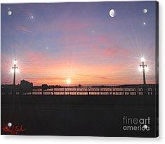 Sunrise On The Bridge Acrylic Print by Michael Rucker