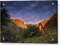 Sunrise On The Chapel Acrylic Print by Aaron S Bedell