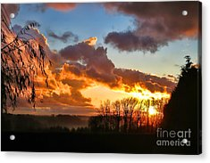 Sunrise Over Countryside Acrylic Print by Olivier Le Queinec