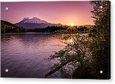 Sunrise Over Lake Siskiyou And Mt Shasta Acrylic Print by Scott McGuire