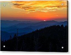 Sun's Last Peak Over The Blue Ridge Acrylic Print by Andres Leon