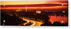 Sunset, Aerial, Washington Dc, District Acrylic Print by Panoramic Images