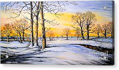 Sunset And Snow Acrylic Print by Andrew Read
