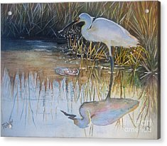 Sunset And Snowy Egret Acrylic Print by Patricia Pushaw