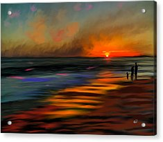 Sunset At Capo Beach In California Acrylic Print by Angela A Stanton