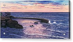 Sunset At Children's Pool Acrylic Print by John YATO