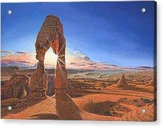 Sunset At Delicate Arch Utah Acrylic Print by Richard Harpum