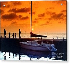 Sunset At Egg Harbor Dock Wisconsin Acrylic Print by ImagesAsArt Photos And Graphics