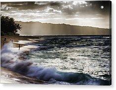 Sunset At Haleiwa Beach Oahu Hawaii V2 Acrylic Print by Douglas Barnard