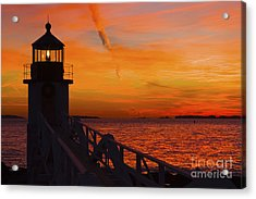 Sunset At Marshall Point Lighthouse At Sunset Maine Acrylic Print by Keith Webber Jr