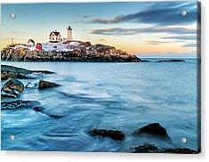 Sunset At Nubble Light-cape Neddick Maine Acrylic Print by Thomas Schoeller