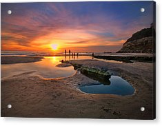 Sunset At Swamis Beach 5 Acrylic Print by Larry Marshall