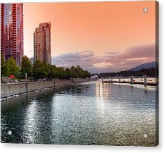 Sunset At Vancouver's Coal Harbour Waterfront Acrylic Print by Carol Cottrell