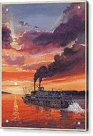 Sunset Bald Eagle Steamboat Acrylic Print by Don  Langeneckert
