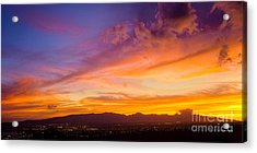 Sunset Behind The Wainae Mountain Range Acrylic Print by Aloha Art