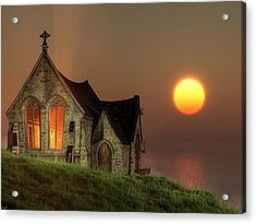 Sunset Chapel By The Sea Acrylic Print by Christian Art