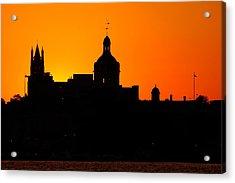 Sunset City Semi-silhouette Acrylic Print by Paul Wash