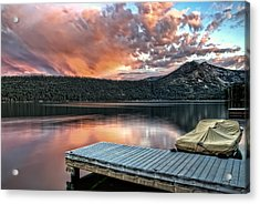 Sunset From Pier Acrylic Print by Maria Coulson