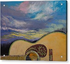 Sunset Guitar Acrylic Print by Michael Creese
