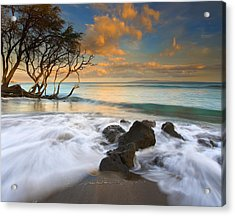 Sunset In Paradise Acrylic Print by Mike  Dawson