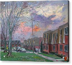 Sunset In Royal Park Apartments Acrylic Print by Ylli Haruni