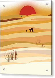 Sunset In The Desert Acrylic Print by Neelanjana  Bandyopadhyay