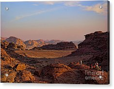 Sunset In The Wadi Rum Desert Jordan Acrylic Print by David Smith