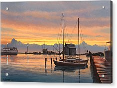 Sunset-north Dock At Pelee Island   Acrylic Print by Paul Krapf