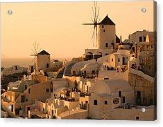 Sunset Oia Santorini Acrylic Print by Saul Moreno