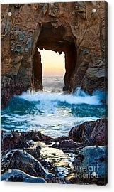 Sunset On Arch Rock In Pfeiffer Beach Big Sur. Acrylic Print by Jamie Pham