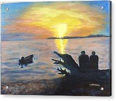 Sunset On Birch Bay Acrylic Print by Liz  Ekstrom
