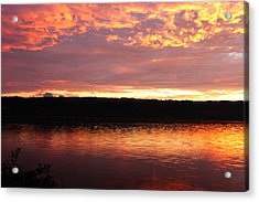 Sunset On Cayuga Lake Cornell Sailing Center Ithaca New York II Acrylic Print by Paul Ge