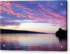 Sunset On Cayuga Lake Cornell Sailing Center Ithaca New York Acrylic Print by Paul Ge