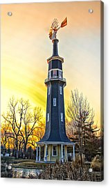 Sunset On The Dwight Windmill Acrylic Print by Thomas Woolworth