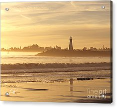 Sunset On The Lighthouse In Santa Cruz Harbor Acrylic Print by Artist and Photographer Laura Wrede
