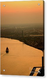 Sunset On The River Acrylic Print by Linda Shafer