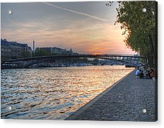 Sunset On The Seine Acrylic Print by Jennifer Ancker