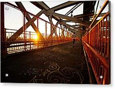 Sunset On The Williamsburg Bridge - New York City Acrylic Print by Vivienne Gucwa