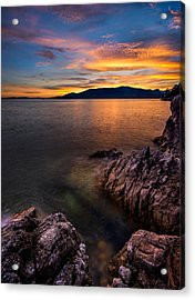 Sunset Over Bowen Island Acrylic Print by Alexis Birkill