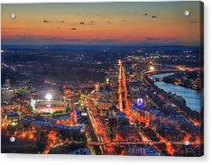 Sunset Over Fenway Park And The Citgo Sign Acrylic Print by Joann Vitali
