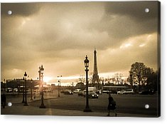 Sunset Over Paris Acrylic Print by Steven  Taylor