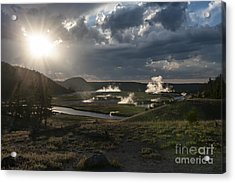 Sunset Over The Firehole River - Yellowstone Acrylic Print by Sandra Bronstein