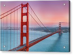 Sunset Over The Golden Gate Bridge Acrylic Print by Sarit Sotangkur